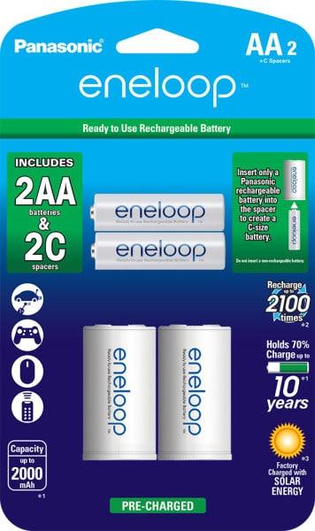 eneloop 2 AA and 2 C-Spacer
