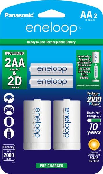 eneloop 2 AA and 2 D-Spacer