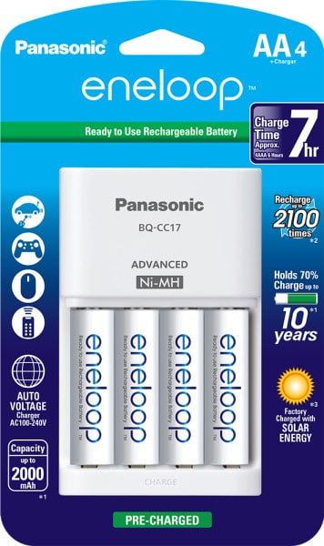 eneloop 4-position Battery Charger with 4-AA Batteries