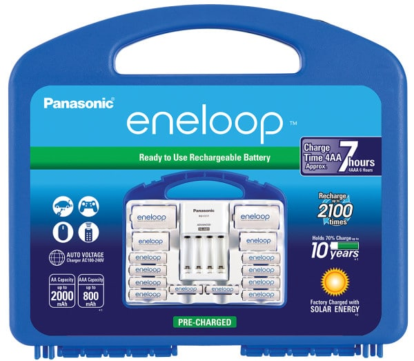 eneloop Charger Kit with 8 AA Batteries, 2 AAA Batteries, C-Spacer and D-Spacer