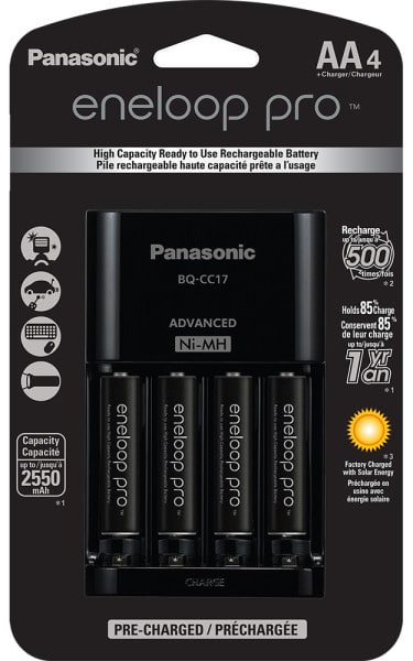 eneloop pro 4-position Battery Charger with 4-AA Batteries